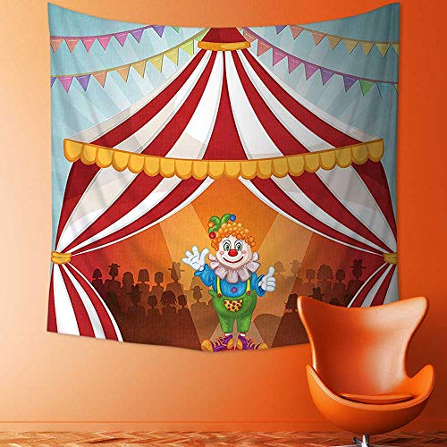 Printsonne Wall Tapestry Home Decor Collection Cartoon Clown in Circus Tent Cheerful Costume Funny Entertainer Joyful Design Red Tapestries for dorms ()