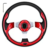 10L0L Golf Cart Steering Wheel, Generic of Most Golf cart EZGO Club Car Yamaha (style1 red)