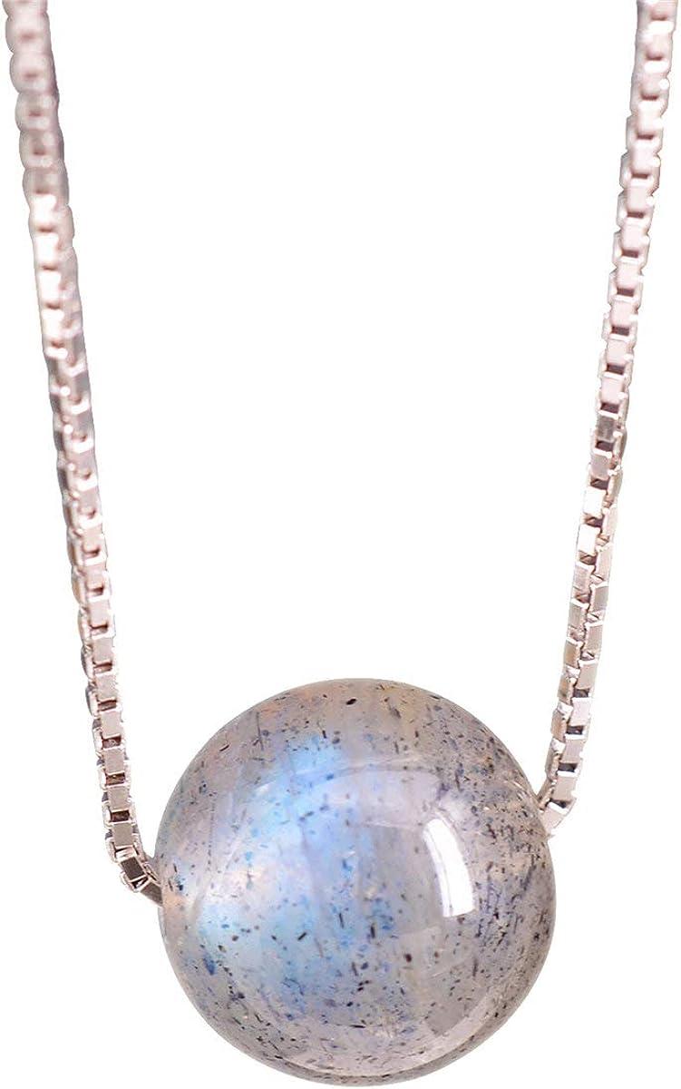 NicoWerk SKE284 - Cadena de plata con colgante de bola de plata de ley 925, bola redonda, piedra de luna, piedra preciosa, cadena veneciana