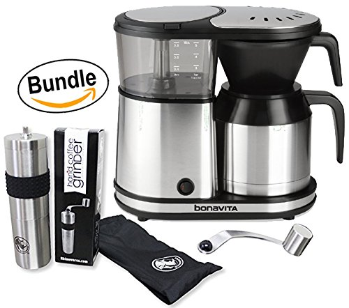 Bonavita BV1500TS 5-Cup Carafe Coffee Brewer & BrewGlobal Rhinoware Hand Coffee Grinder - Stainless Steel (Bundle) by Bonavita