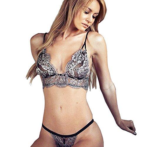 Women Sexy Lace Badydoll Silver Bralette Hollow Corset Temptation Two Pieces Lingerie Set(L)