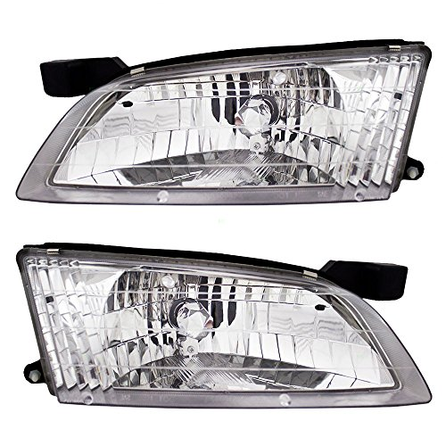 Driver and Passenger Headlights Headlamps Replacement for Nissan 26060-9E025 26010-9E025 - Replacement Nissan Headlamp