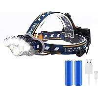 Rechargeable Headlamp, 8 Modes Multi-Function Headlight Flashlight 18000 Lumens, Waterproof Head Torch Heads Light with…