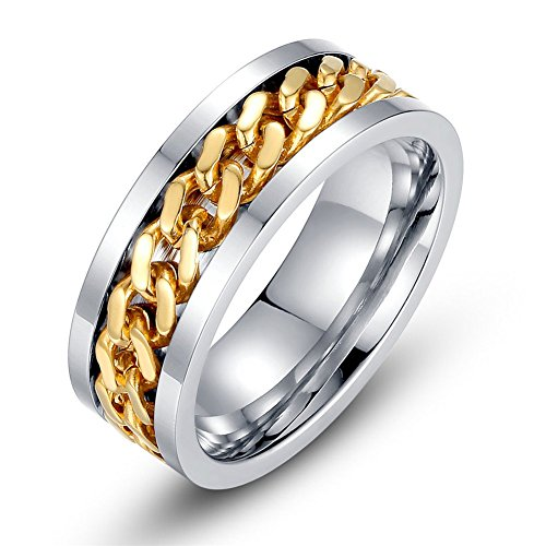 Topick Mens Fashion Stainless Steel 18k Gold Plated Width 8mm Spinner Chain-Shaped Ring