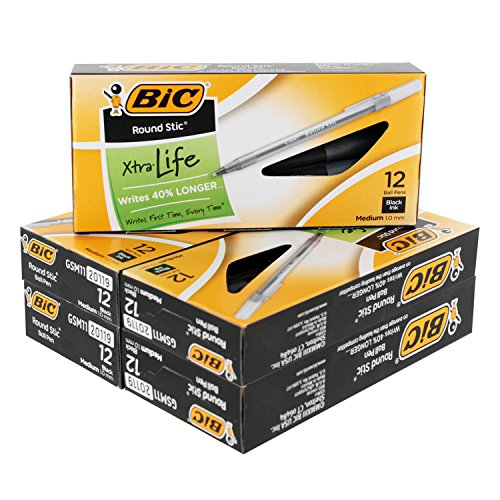 BIC Round Stic Xtra Life Ball Pen, Medium Point (1.0 mm), Black, 60-Count