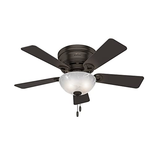 Hunter Indoor Low Profile Ceiling Fan with light and pull chain control – Haskell 42 inch, Premier Bronze, 52137