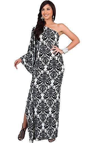 KOH KOH Petite Womens Long One Off The Shoulder Summer Flowy Cocktail Party Evening Damask Print Printed Elegant Evening Sexy Sundress Gown Gowns Maxi Dress Dresses, White and Black XS 2-4