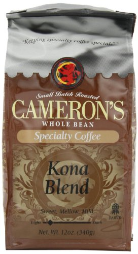 Cameron's Kona Blend Whole Bean Coffee, 12-Ounce Bags (Pack of 3)