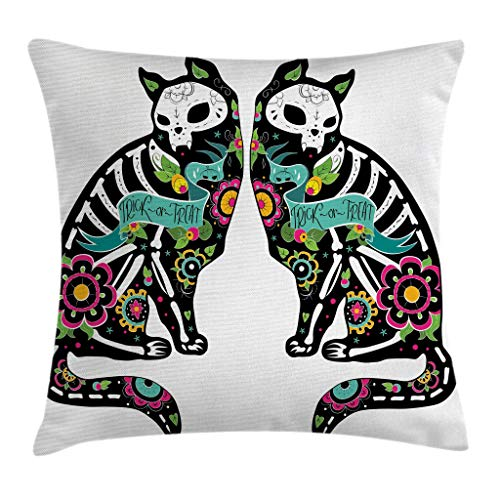 Ambesonne Day of The Dead Decor Throw Pillow Cushion Cover, Skeleton Cats Festive Celebration Spanish Art Print, Decorative Square Accent Pillow Case, 18 X 18 Inches, Black White Turquoise Pink
