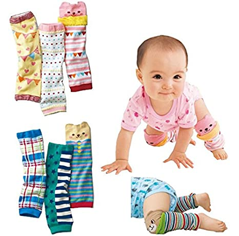 Luckystaryuan ® Christmas Gift Set of 6 Cotton Baby Leg Warmers Kneepad Protector Sock (3pairs boy style and 3 girls style)