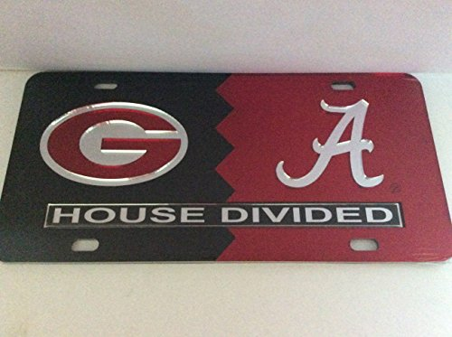 Georgia Bulldogs/ Alabama Crimson Tide House Divided Laser Cut License Plate Tag