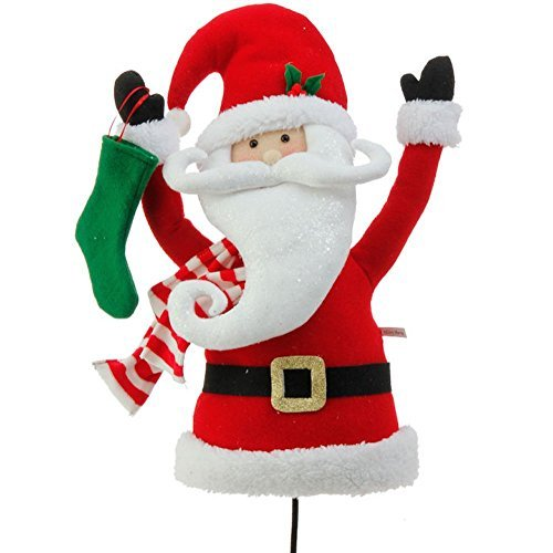 Plush Santa Claus Head and Torso Pick Accent Christmas Tree Ornament Decor, 17 Inch x 10 inch x 5.5 inch on Bendable STick