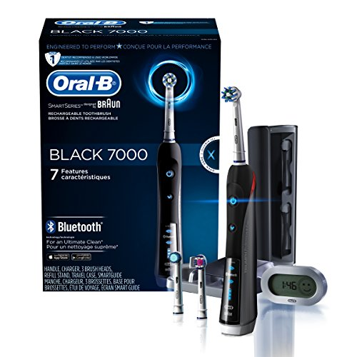 Oral-B 7000 SmartSeries Rechargeable Power Electric Toothbrush with 3 Replacement Brush Heads, Bluetooth Connectivity and Travel Case, Black, Powered by Braun