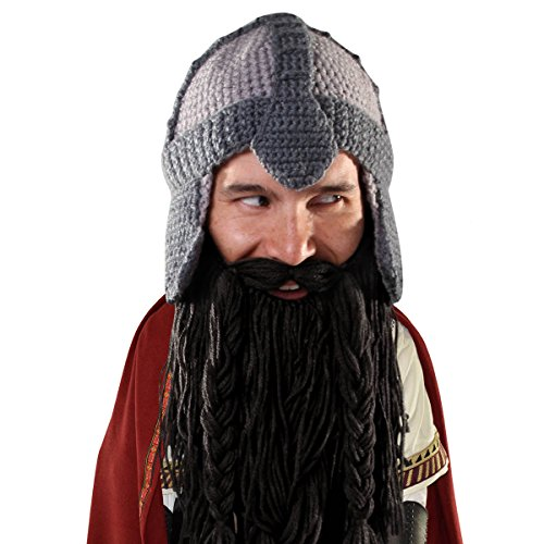 Beard Head Dwarf Warrior Beard Beanie - Epic Knit Dwarf Helmet and Fake Beard Black