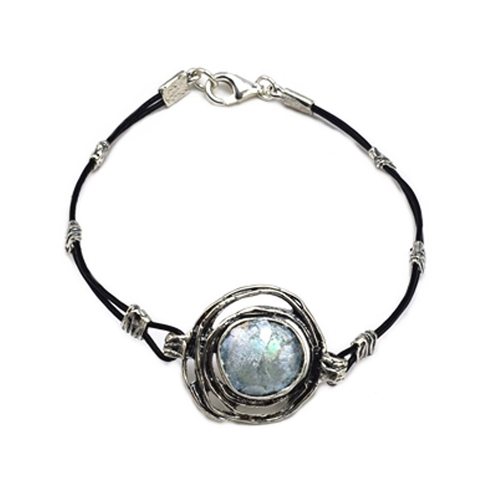 Ancient Roman Glass Bracelet Sterling Silver and Black Cord by Roman Glass Company