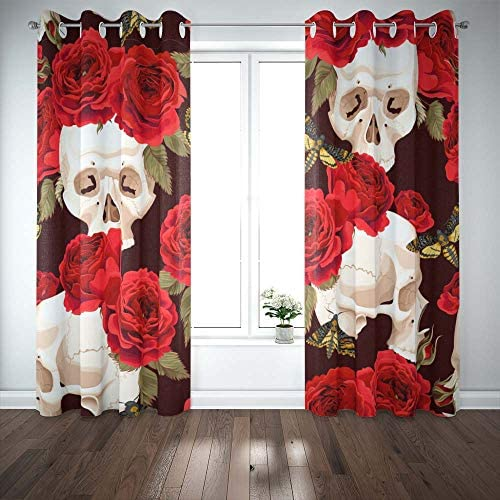 Teepel Door Window Curtain Boho Window Curtains 52 X 84 Inches 2 Panels . Skulls Roses Curtains Review