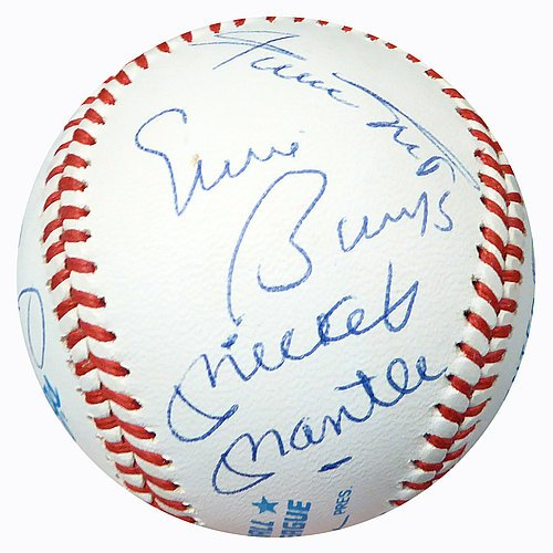 [500 HR Club Signed Official AL Baseball With 12 Signatures Including Mickey Mantle, Ted Williams, Mays, Banks & Aaron Graded 9 - PSA/DNA Certified] (Mickey Mantle Signature)