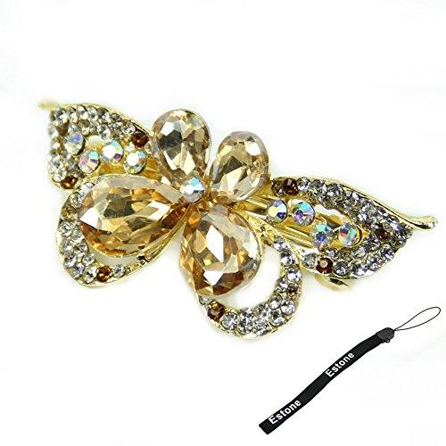 Estone New Fashion Women Lady Girl Rhinestone Barrette Butterfly Hair Accessory (Gold)