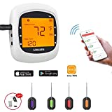 thermo works chef alarm - Soraken GM-001 Bluetooth Wireless Meat Thermometer for Grilling Smoker with Four Probes - White