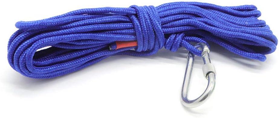 Blau 10M 6mm Metyere Mehrzweck Magnet Fischen Rescue Sicherheit Seil Bergsteigen Schnur mit Karabiner