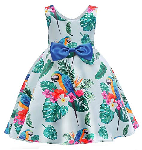 AYOMIS Litter Big Girl Flower Dress Princess Bow Party Wedding Tutu Gowns(Green,8-9Y)