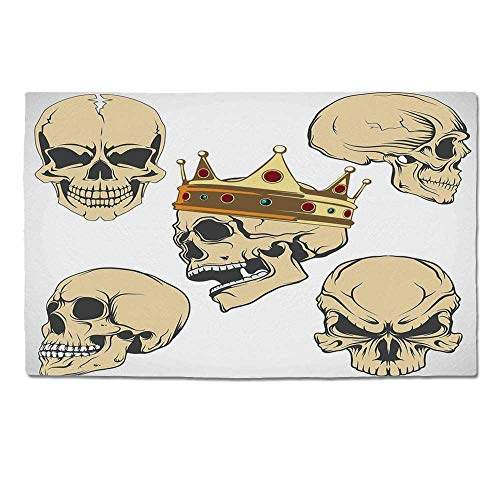YOLIYANA Skull Decor Durable Door Mat,Skulls Different Expressions Evil Face Crowned Death Monster Halloween for Home Office,One -