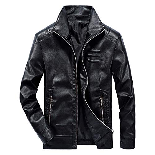TOPUNDER Autumn Winter Casual Long Sleeve Solid Stand Zipper Leather Jacket Top Men