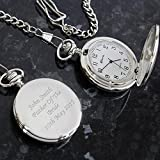 Personalised Silver Finish Pocket Watch, Chain and Box - FREE ENGRAVING - Perfect for Groom, Best Man, Father, Wedding Favour, Valentine's Day, Birthday Bild 1