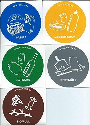 5 Er Set Aufkleber Für Mülltrennung Mülltonne Abfalltonne