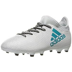 adidas Performance Boys' X 17.3 FG J Soccer Shoe, White/Energy Blue/Clear Grey, 3.5 Medium US Little Kid
