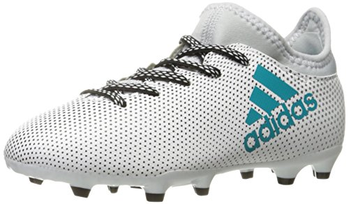 adidas Performance Boys' X 17.3 FG J Soccer Shoe, White/Energy Blue/Clear Grey, 10.5 Medium US Little Kid