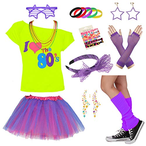Child I Love The 80's Disco 1980s Costume Outfit Accessories Set (7-8 Years, ()