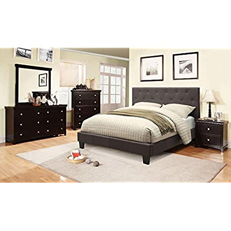 Smithfield Casual Button Tufted Twin Bed Gray Fabric
