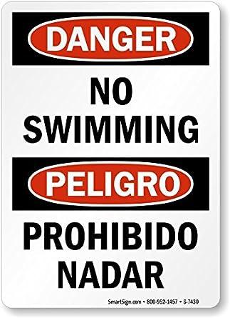 Amazon.com: Peligro – no natación/Peligro – Señal de ...
