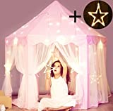 Princess Castle Tent with Large Star Lights String, Durable Girls Play Tent for Indoor and Outdoor Games, Stimulate Pretend and Imaginative Play, Have Fun in the Cute Pink Princess Tent with Lights