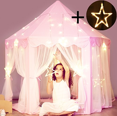 Princess Castle Tent with Large Star Lights String, Durable Kids Playhouse for Indoor & Outdoor Games, Stimulate Pretend and Imaginative Play, Have Fun, Encourage Social Interaction, Cute Pink -