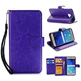 Samsung Galaxy S6 Wallet Flip Case,DLFcase [Stand Feature] Premium Protective PU Leather Flip Cover w/ Card Slot Side Pocket Magnetic for Galaxy S6 (Purple)