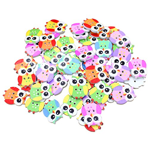Polytree 50pcs Multicolored Cartoon Animal 2 Holes Wood Sewing Buttons (Owl)
