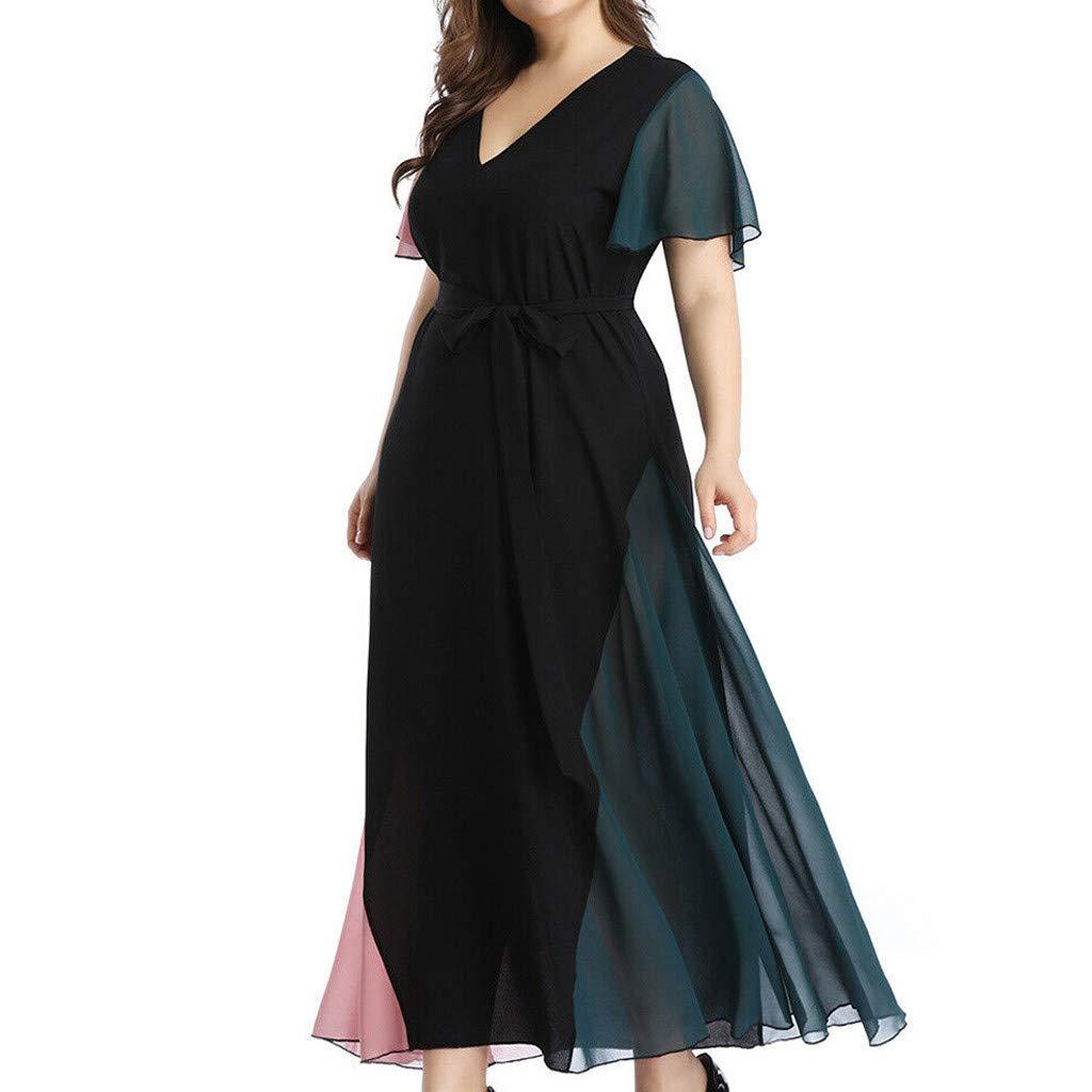 Vestido De Verano Mujer 2019 Talla Grande Vestidos De Fiesta Mujer Elegantes Vestidos De C/óctel Tallas Grandes Se/ñoras Vestido Largo Manga Corta XL-XXXXXL