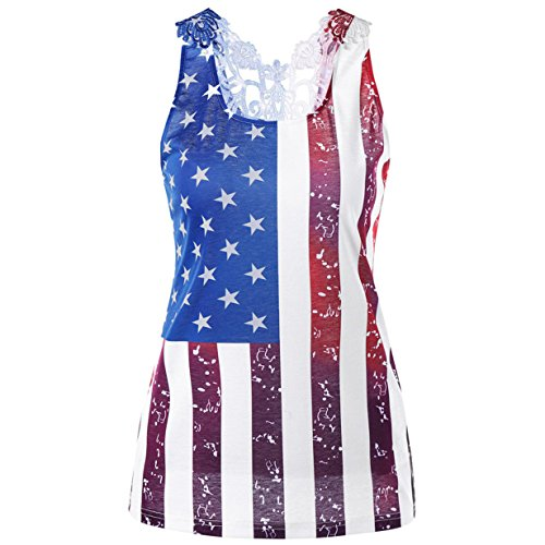 HOT! American Flag Shirt,Londony Women's USA Flag Lace Cross U-Neck Tank Tops Summer Flowy Sleeveless Tunic (Multicolor❤️, XL) Hot Usa Flag