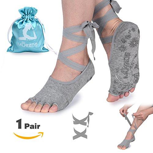 Muezna Anti-Skid Yoga Socks Women Strap, Toeless Non Slip Grip Pilates, Barre, Ballet, Bikram Workout Socks Cotton Grey