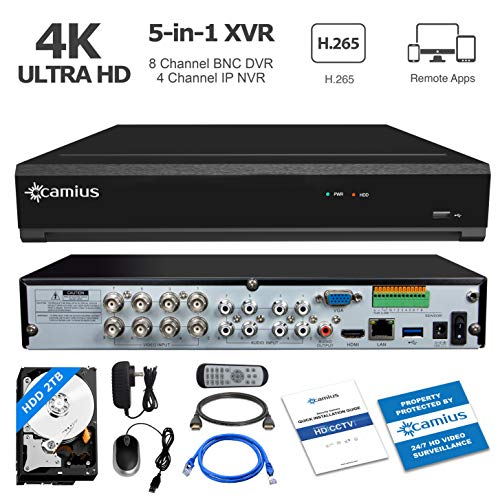 - Camius Ultra HD 8MP 4K 8-Channel Hybrid 5-in-1 DVR NVR Security Video Recorder with 2TB Hard Drive, Supports Analog and IP Cameras, PC/Mac Software, Browser, Camera App View [Without Cameras]