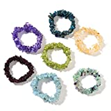Set of 7 Stretchable Chip Gem Bead Bracelet (Amethyst, Aquamarine, Citrine, Fluorite, Garnet, Kyanite, Peridot)