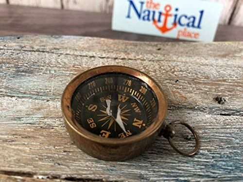 Antique Finish Brass Pocket Compass - Necklace Pendant Charm - Old Vintage Style for Home Decor Collection