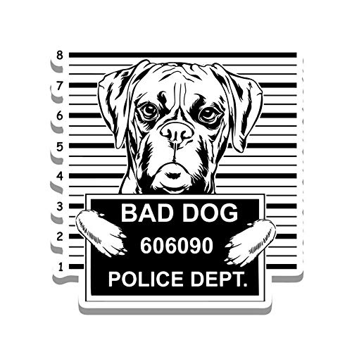 Bad Dog Boxer Jail Funny Cute Vinyl Decal Sticker - Car Truck Van SUV Window Wall Cup Laptop - One 5.25 Inch Decal - MKS0874