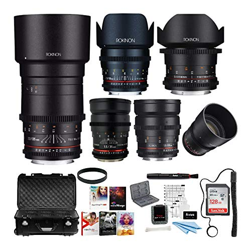 Rokinon 6 Lens Cine DS Bundle for Canon EF Mount (14mm, 24mm, 35mm, 50mm, 85mm, 135mm)