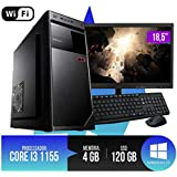 "PC Completo Intel Core i3, 4GB Ram, HD SSD 120GB, Monitor 18,5"" LED, Teclado, Mouse e Wi-fi"