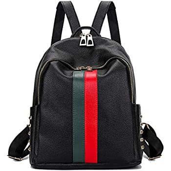 4cc689d57f6e Gerville Women Backpack Travel Daypack l Rucksack Fashion Mini Nylon PU  Leather Shoulder Bag Purse Sale Ladies (Upgrade Small Black)
