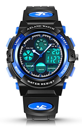 AZLAND Sports Digital Kids Wrist Watches for Boys Quartz Analog Pointer Waterproof Teenagers Wacth Blue