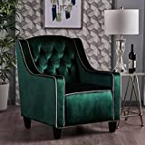 Gianna Two Tone Tufted New Velvet Club Chair (Emerald Pistachio Accent)
